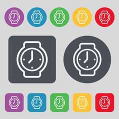 Watches icon sign a set of 12 colored buttons flat vector