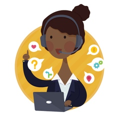 Customer support help desk african american woman vector