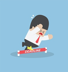 Businessman stumbling on deadline rope vector