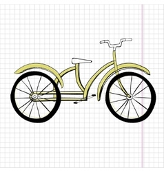 Doodle yellow bicycle excellent vector