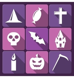 Halloween flat icons with long shadow set vector