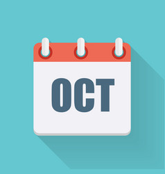 October dates flat icon with long shadow vector