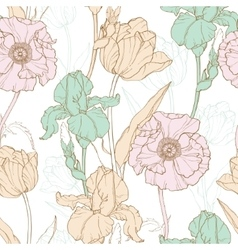 Vintage flowers pastel seamless repeat vector