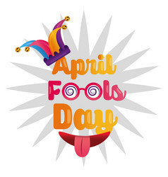 April fools day greeting card funny party vector