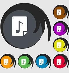 Audio mp3 file icon sign symbols on eight colored vector