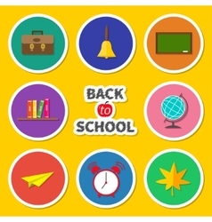 Back to school round icon set green board bell vector