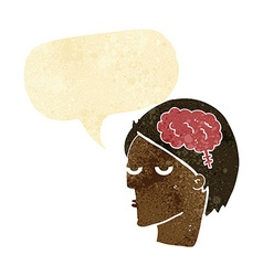 Cartoon head with brain symbol with speech bubble vector