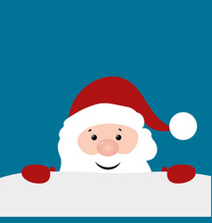 christmas card with santa claus on blue background vector image vector image