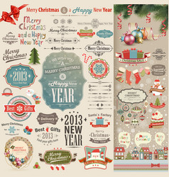 Christmas vintage scrapbook vector