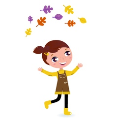 cute little autumn girl isolated on white vector image
