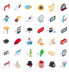 Etiquette icons set isometric style vector
