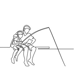 Father and son catching fish vector