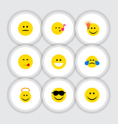Flat icon face set of have an good opinion happy vector