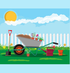 Formal garden with wheelbarrow flowers shovel vector