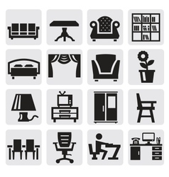 furniture and home icons vector image vector image