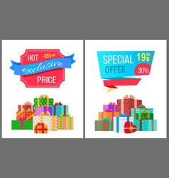 Hot exclusive price special offer sale posters vector