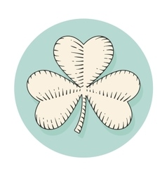Icon clover for st Patrick Day in engraving style vector image