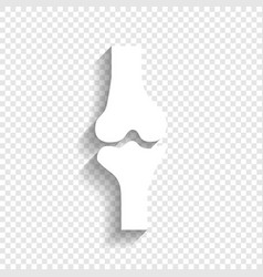 Knee joint sign white icon with soft vector
