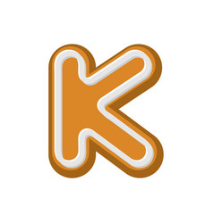 Letter k gingerbread peppermint honey-cake font vector