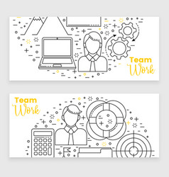 management set line art icons vector image vector image
