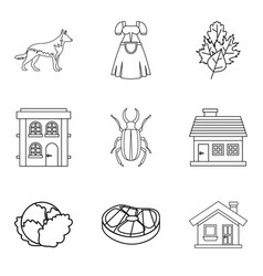mansion house icons set outline style vector image