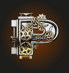 P letter with gears vector
