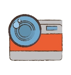 Photo camera picture vacation travel color sketch vector
