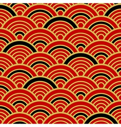 Red gold black traditional wave japanese vector