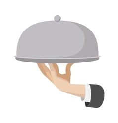 Restaurant cloche cartoon icon vector
