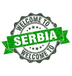 Serbia round ribbon seal vector