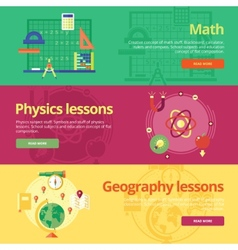 Set of flat design concepts for math physics vector image