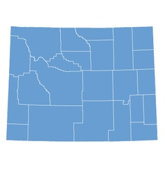 State Map of Wyoming by counties vector image vector image