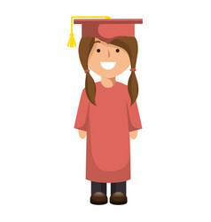 Student woman graduated isolated icon vector