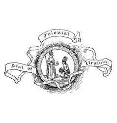 The colonial seal of virginia vintage vector