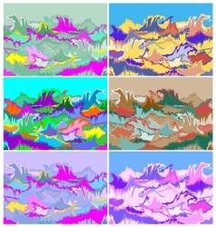 Toxic hallucination colors ocean waves set vector