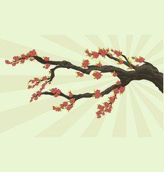 Tree branch with flowers vector