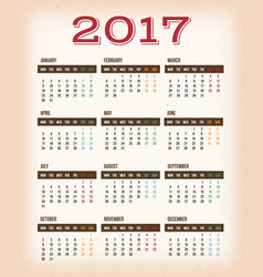 Vintage design calendar for year 2017 vector