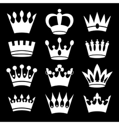 White crowns on black background vector image vector image