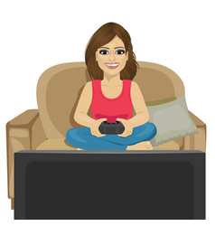 Young woman playing video game at home vector