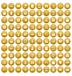100 payment icons set gold vector