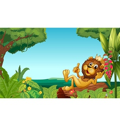 A king lion in the forest vector