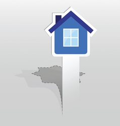 Sticker with blue house vector image