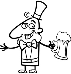 Leprechaun with beer cartoon for coloring vector