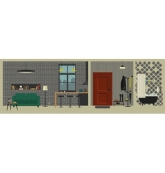 Apartment interior with bar in flat style vector