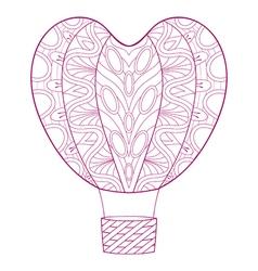 Hand drawn zentangle pink balloon in heart shape vector