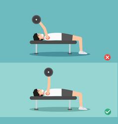 Man wrong and right barbell bent press posture vector