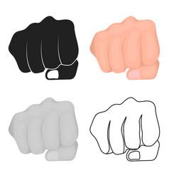 fist bump icon in cartoon style isolated on white vector image