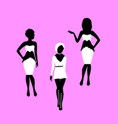 fashion woman in dress model silhouettes vector image
