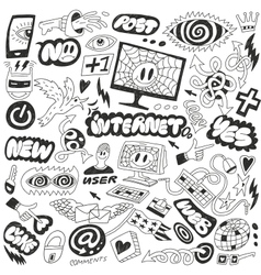 Web internet computers doodles vector