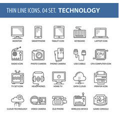 Set of thin line flat icons technology vector